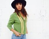 40% SALE! 1950's Rare Joseph Horne Co. Green and Yellow Italian Wool Tailored Cardigan Jacket