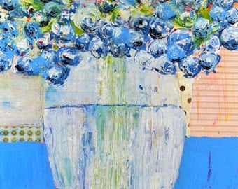 Large Acrylic Blue Roses Painting. Still Life Floral Art Painting. Blue Cottage Chic Decor. Gift for Her. 172