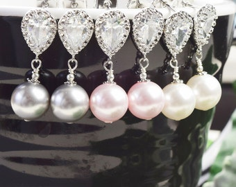 Pearl Bridesmaid Earrings SET OF 8 Pearl Drop Earrings Silver Bridesmaid Jewelry - Bridesmaid Gifts Jewelry - Pearl Bridal Jewelry