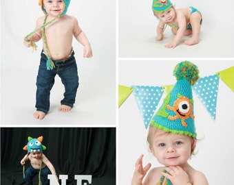 Crochet Monster Outfit (Hats and Diaper Cover Available)