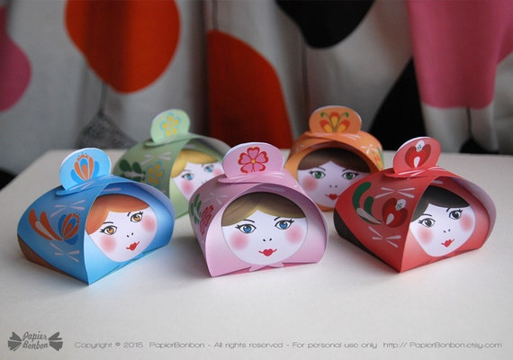 Matryoshka party gift boxes (Printable) - Russian nesting dolls - party centerpiece, kit, set of 5 cute favor boxes DIY - instant download