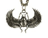 Egypt Scarab Necklace Antique Silver Color Bronze Pendant with Handmade Chain Bohemian Jewelry - FPE014