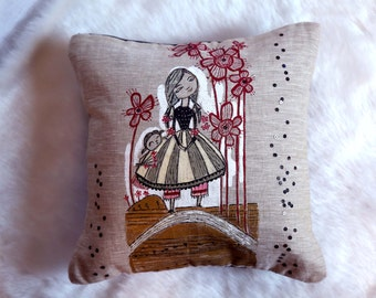 Pretty Hand Painted Beige 16X16 Doll Cushion Cover
