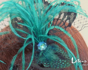Teal Green and Black Fascinator Hair Accessory on Headband. Free Shipping in Australia.