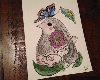 Butterfly Bird  - Original Illustration - Ink & Watercolour pencils