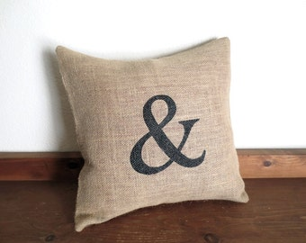 Ampersand Pillow Cover, Burlap Pillow, Wedding Gift, Engagement Gift, Chic Home Decor, Wedding Decorations,16 X 16,