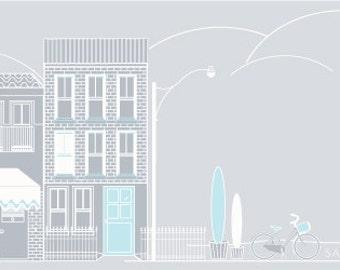 website or blog header with grey Street Scape. Digital file.