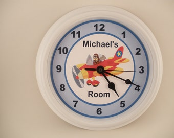 Airplane Pilot Personalized Nursery Wall Clock