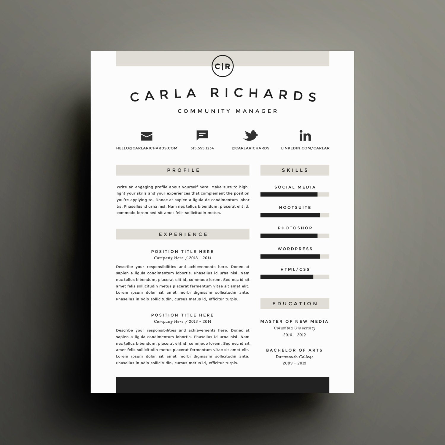 Professional Resume Template and Cover Letter Template