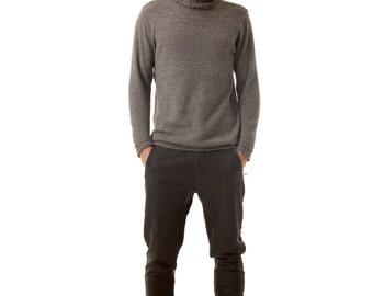 Grey mens sweater pullover PIERRE - ribbed turtleneck collar - 100% alpaca