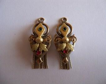 Pendenti oro 9 kt per orecchini borbonici giglio fiorentino con rubini e smeraldi