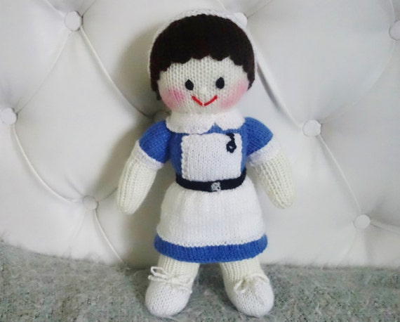 Hand Knitted Nurse Doll Size 12 Inches Made to by Ewillknitting