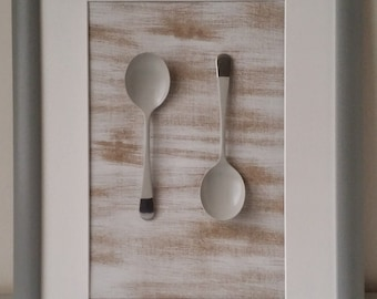 Upcycled Spoon Artwork Picture Grey Frame Bespoke
