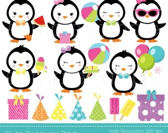 Penguins Party Clipart, Penguin Clip art, Penguin Party, only FOR PERSONAL USE