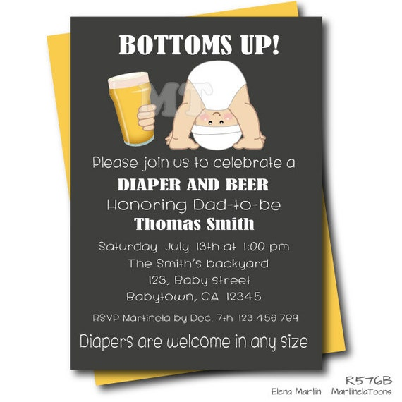 Beer and Diaper Baby Shower Invitation Chalkboard Dad Baby