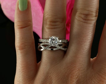 7.5mm Moissanite Wedding Set with Diamonds, Forever Brilliant Moissanite Engagement (avail. in rose gold, yellow gold, white gold, platinum)
