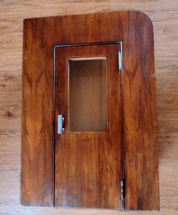 Items Similar To Unique Vintage Art Deco Wood Bathroom Medicine Cabinet -Recessed Wall Cupboard