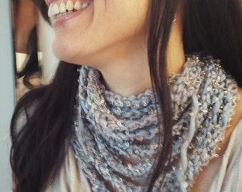 Knit infinity scarf Womens necklace, Grey meets gold! Eight tiered custom knit infinity scarf/necklace