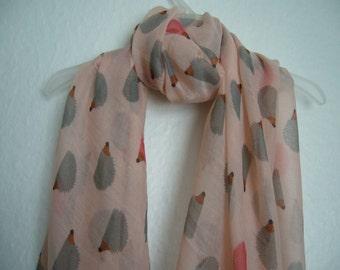 Hedgehog Scarf, Peach Multi Colour Hedgehog Scarf, For Her, Spring Summer Scarf, Animal Scarf