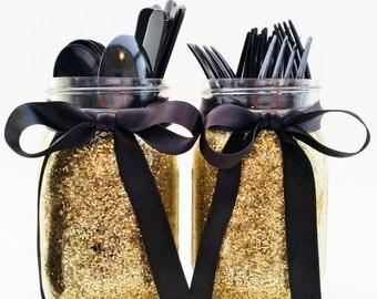 Black And Gold Party Decor Mason Jar Glitter Jars Graduation