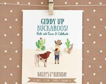 Wild West / Cowgirl / Cowboy Birthday Party Invitation - Customizable character!