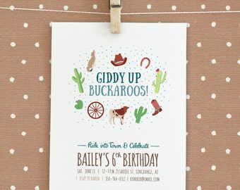 Wild West / Cowgirl / Cowboy Birthday Party Invitation
