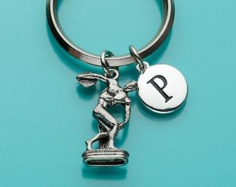 Discus Thrower Keychain, Discus Thrower Key Ring, Initial Keychain, Sports Keyring, Personalized Keychain, Custom Keychain, Charm, 103