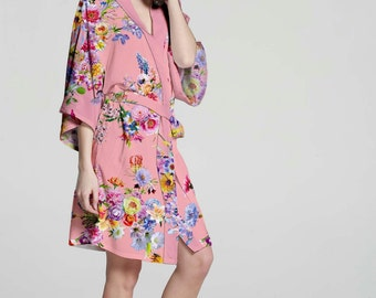 I03340 Monogrammed Robe For Bridal Party Wedding Robes For Bride Cheap Kimono Robe Pink Cotton Robe Not Silk Floral Robes For Women