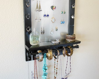 Jewelry Wall Organizer with Bracelet Bar, Necklace Holder, Earring Organizer