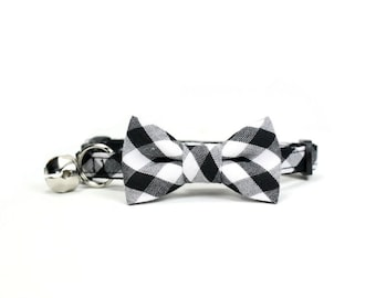 Black White Gingham Cat Bow Tie Collar Check Bowtie Breakaway Safety with Bell