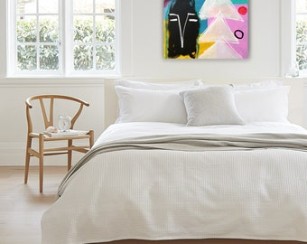 """Abstract painting, Original painting, """"White tree"""" 36H x 24W in, large colorful painting from Art Factory Gallery"""