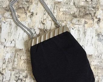 SALE 1970s black purse. Black evening bag. Black convertible purse.