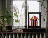 Paint Drips Modern Suncatcher Glass Art Sunroom Decor Primary Colors Painted Glass Window Panel Mid Century Modern Supergraphics