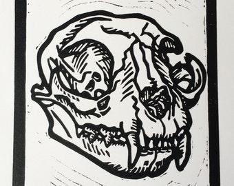 Cat Skull Linocut Print