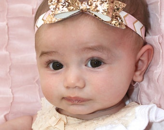 Pink, white, and gold chevron headband with sparkly gold bow