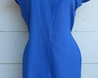 Royal Blue 80s Colour block Dress