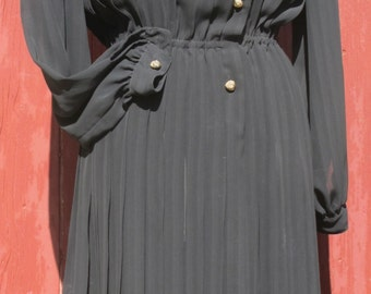1980s Sheer Black Pleated Dress