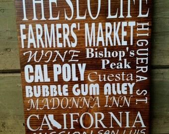 San Luis Obispo, California Subway Art Wood Sign, The SLO Life