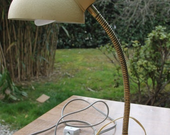 Antique mid century vintage beige metal 50s desk lamp
