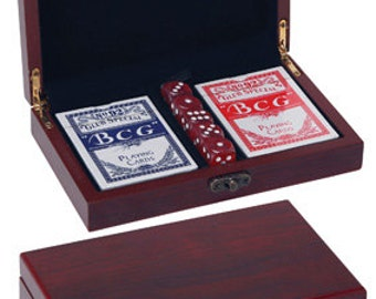 Card and Dice Set in Rosewood Box CRD01