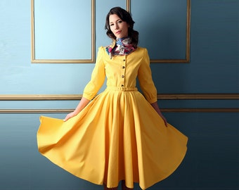 Vintage Style Dress: Buttercup Yellow
