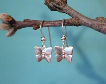 Sterling Silver Butterfly Earrings, Sterling Silver Dange Earrings, Butterfly Earrings, Birthday Gift, Bridesmaid Gift, Bridal Earrings