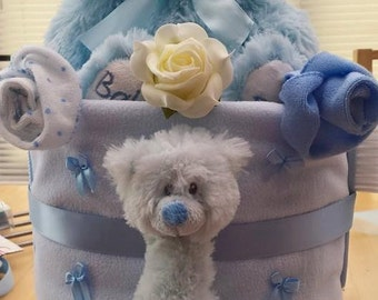 Teddy 2 tiered Nappy Cake