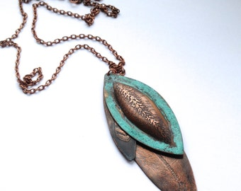 Copper Feather Cluster Pendant