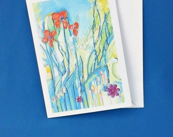 Art greetings card, card for every occasion, printed with original artwork, abstract flower painting, blank inside