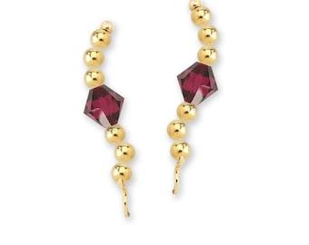 Gold Over Silver Swarovski Crystal Center Beaded Ear Pin Earrings - Birthstone Series