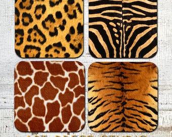 Animal Print Coasters, Safari Coaster Set, Jungle Cork Back Coasters