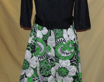 Quilted long 1960's dress