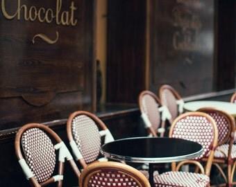 "Paris Photography, Paris Cafe Print, Kitchen Decor, Bistro Chairs, Rue Mouffetard, Brown Home Decor, Travel Prints ""Tea & Chocolate"""