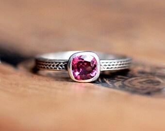 Sterling silver garnet ring, January birthstone, garnet stack ring, garnet jewelry, stackable ring, braid ring, wheat ring, bezel, custom